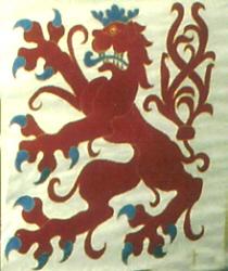 """Bergischer Löwe, """"blau bewehrt, bezungt und gekrönt"""" (auf einem Wimpel im  Dom zu Altenberg )"""