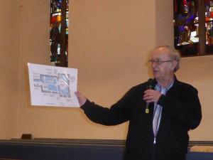 Grundriss und frühere Bestuhlung der Kirche